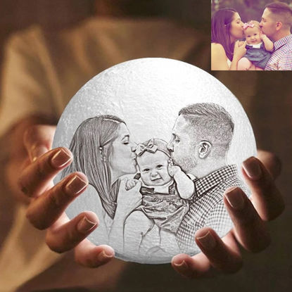 Picture of Magic 3D Personalized Photo Moon Lamp with Touch Control for Family (10cm-20cm)