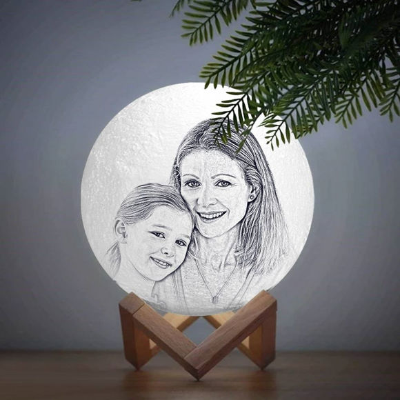Picture of Magic 3D Personalized Photo Moon Lamp with Touch Control for Mom (10cm-20cm)