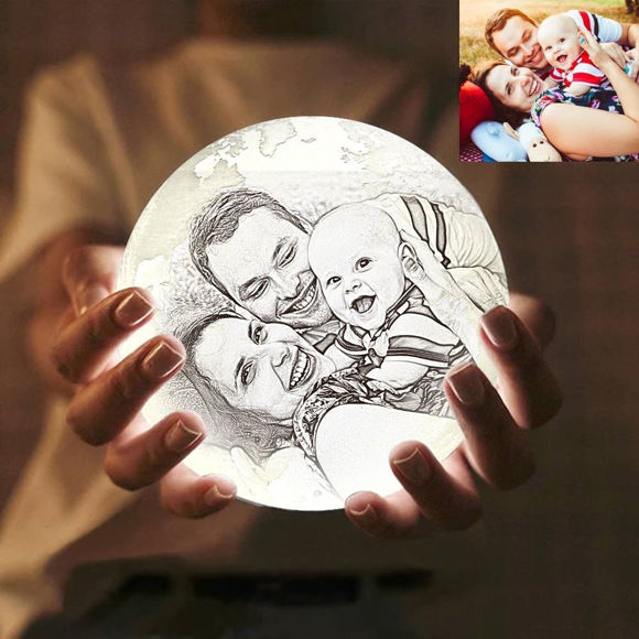 Picture of Magic 3D Personalized Photo Moon Lamp with Touch Control for Loving Family (10cm-20cm)