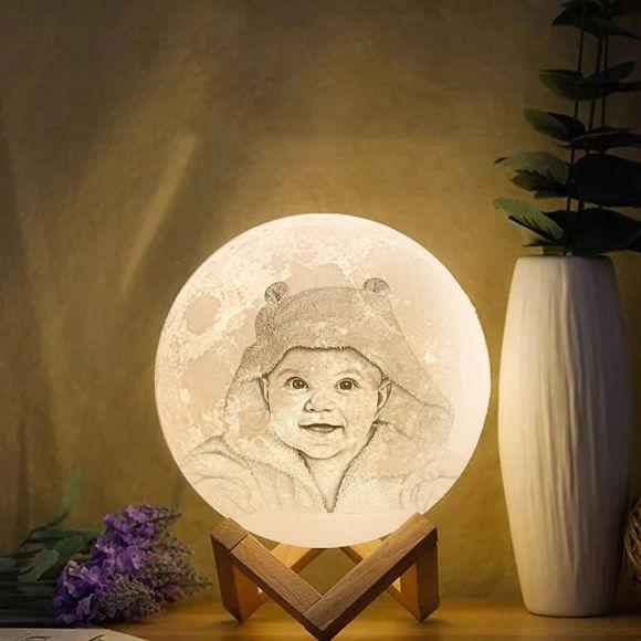 Imagen de Lámpara de luna con foto personalizada Magic 3D con control táctil para bebé (10cm-20cm)