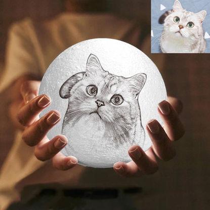 Imagen de Lámpara de luna con foto personalizada Magic 3D con control táctil para mascotas encantadoras (10cm-20cm)