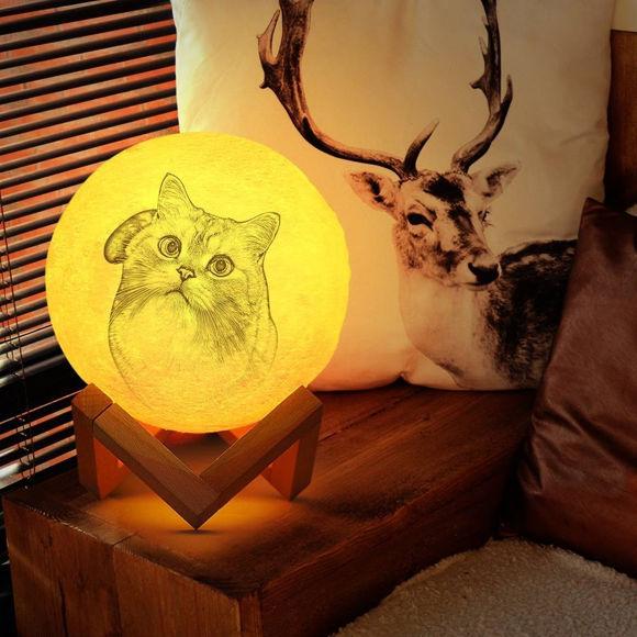 Image de Lampe de lune photo personnalisée Magic 3D avec commande tactile pour beaux animaux de compagnie (10cm-20cm)