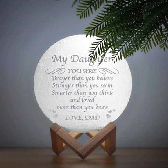 Picture of Personalized 3D Moon Lamp with Touch Control Touching Words (10cm-20cm)