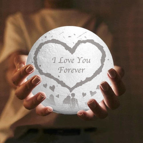 Picture of Personalized 3D Moon Lamp with Touch Control Big Heart Shape (10cm-20cm)
