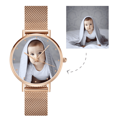 Imagen de Reloj personalizado con foto de pulsera de oro rosa grabado
