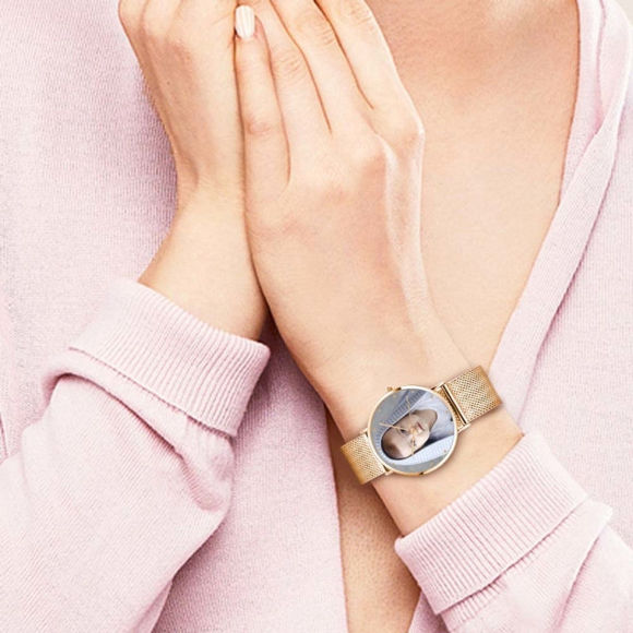 Picture of Custom Women's Engraved Rose Gold Bracelet Photo Watch
