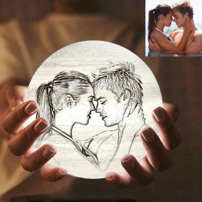 Imagen de Lámpara de luna con foto personalizada Magic 3D con control táctil para parejas amorosas (10cm-20cm)