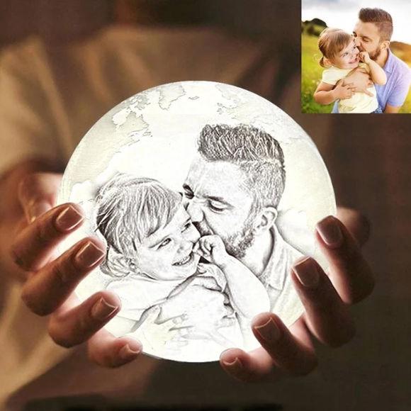 Image de Lampe de lune photo personnalisée Magic 3D avec contrôle tactile pour père (10cm-20cm)