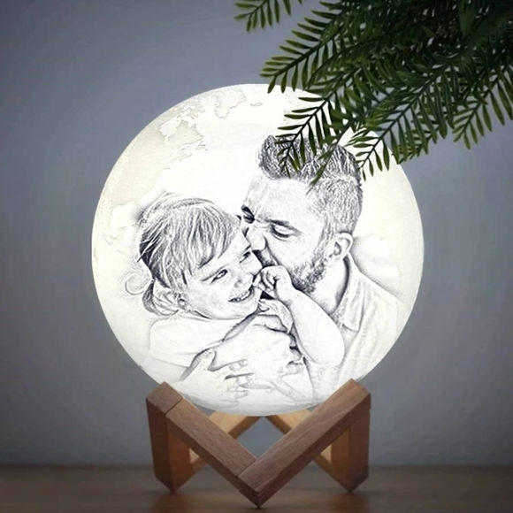 Picture of Magic 3D Personalized Photo Moon Lamp with Touch Control for Father (10cm-20cm)