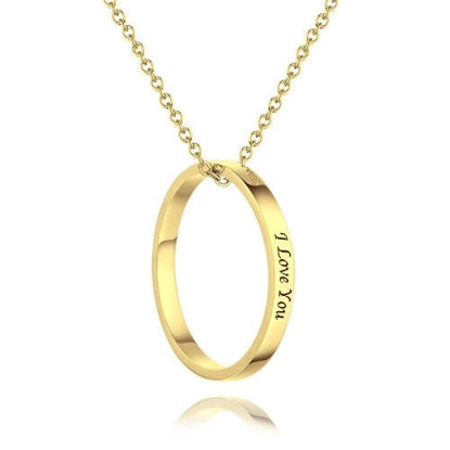 Imagen de Personalized Engraved Necklace Keepsake Gift Round-Shaped in 925 Silver