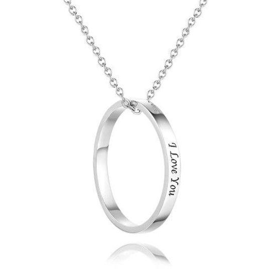 Imagen de Regalo de recuerdo de collar grabado personalizado con forma redonda en plata 925