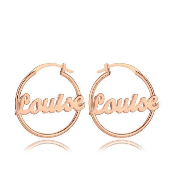 Image de Boucles d'oreilles prénom personnalisées Cadeau unique en argent 925