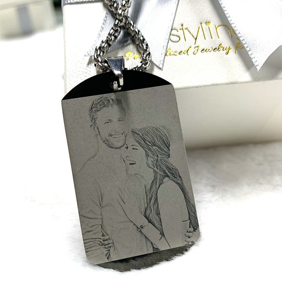 Picture of Titanium Steel Engraved Photo Necklace