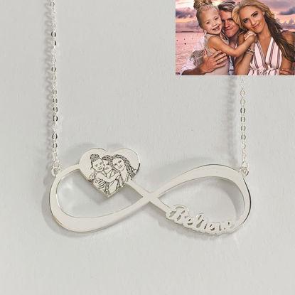 Imagen de Colgante con nombre de corazón grabado, collar con nombre infinito en plata de ley 925
