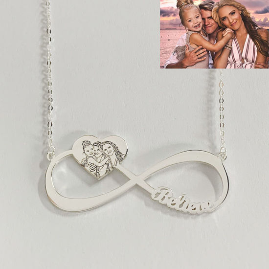 Imagen de Engraved Heart Pendant Photo Infinity  Name Necklace in 925 Sterling Silver