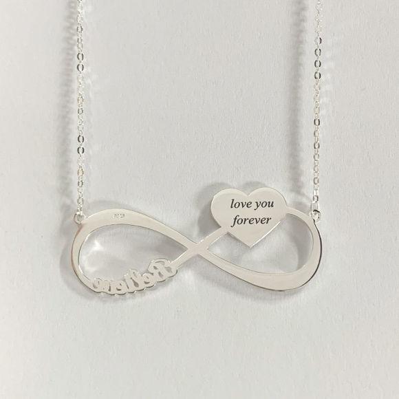 Image de Pendentif Coeur Gravé avec Pendentif Photo Infinity Photo en Argent Sterling 925