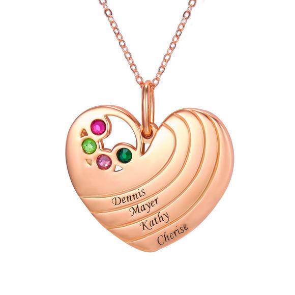 Imagen de Collar con colgante de corazón personalizado con nombre y piedras natales en plata de ley