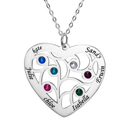 Immagine di Pendente a cuore Albero genealogico Birthstone Collana con nome in argento 925