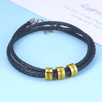 Image de Bracelet en cuir tressé unisexe avec petites perles personnalisées en argent sterling 925