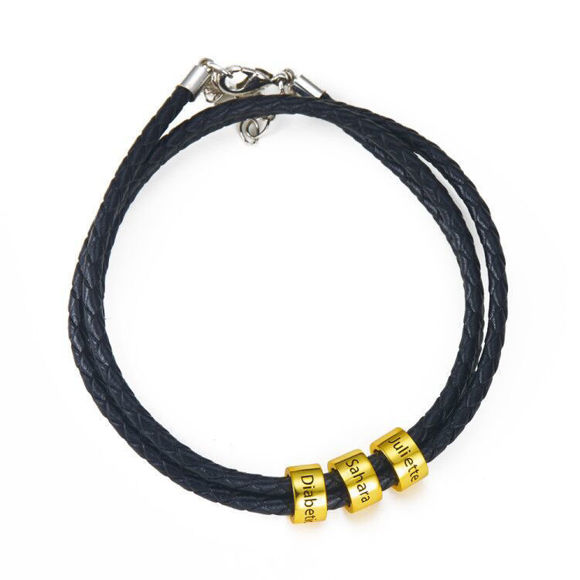 Picture of Unisex Braided Leather Bracelet with Small Custom Beads in 925 Sterling Silver