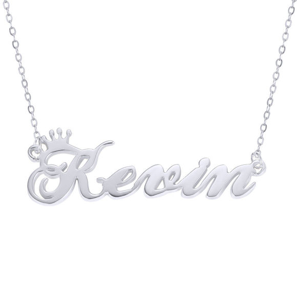Picture of Custom Crown  Name Necklace in 925 Sterling Silver