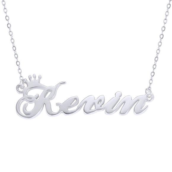 Imagen de Collar personalizado con nombre de corona en plata de ley 925