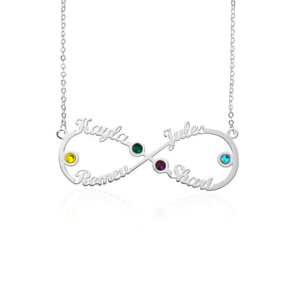Picture of Personalized Infinity 4-Name Necklace With Birthstones
