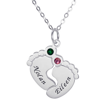 Imagen de Collar de pies de bebé personalizado con piedras natales
