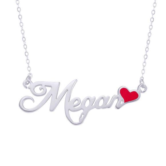 Immagine di Collana con targhetta con nome script e cuore smaltato rosso