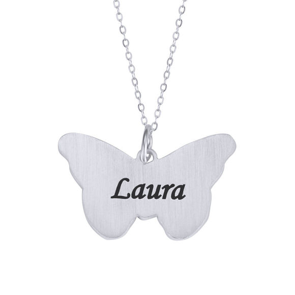 Picture of Butterfly Pendant Engraved Name Necklace in 925 Sterling Silver