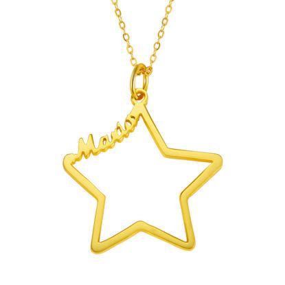 Imagen de Nombre personalizado en collar de estrella en plata de ley 925