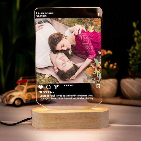 Immagine di Lampada da notte a led 3D personalizzata in stile Instagram