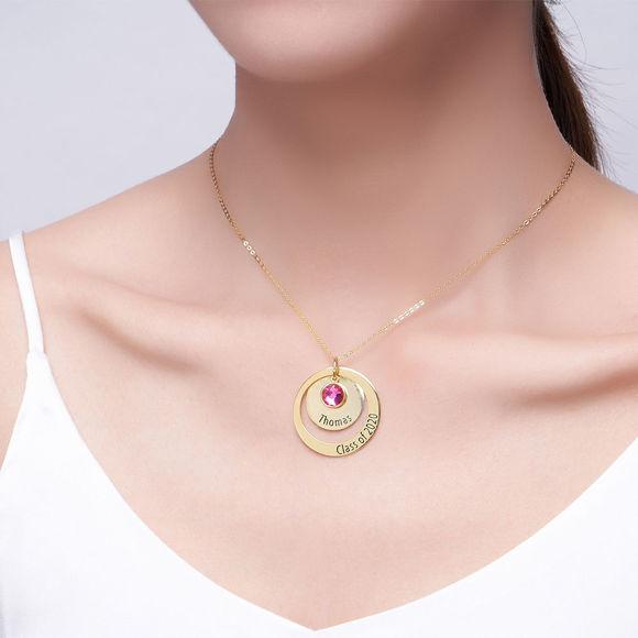 Image de Cercles de nidification de diplôme en argent sterling avec collier de naissance