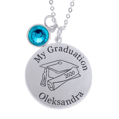 Picture of Sterling Silver Graduation Name With Grad Cap Disc Pendant
