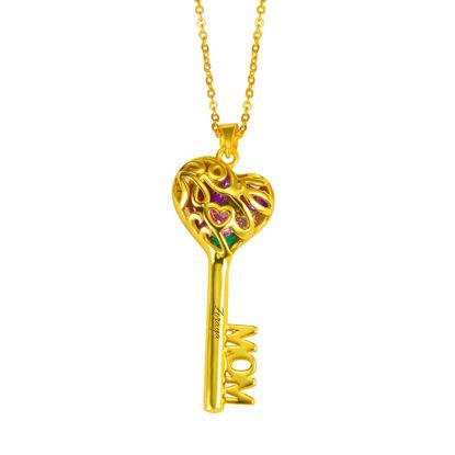 Imagen de Collar con llave de jaula de corazón de mamá con piedras natales en plata de ley 925
