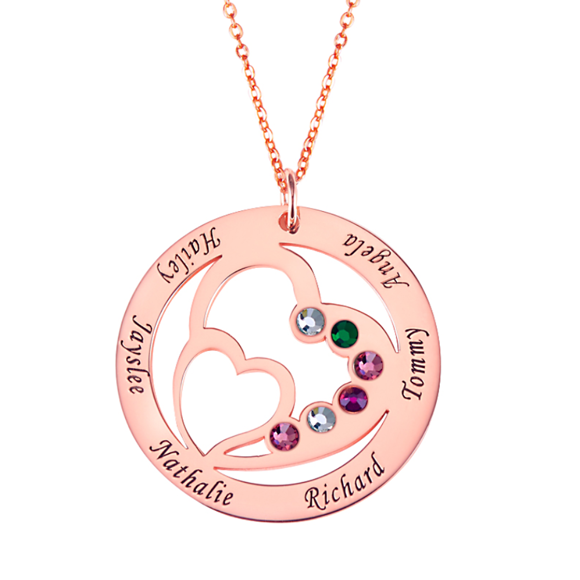 Picture of Personalized Heart in Heart Birthstone Name Necklace in 925 Sterling Silver