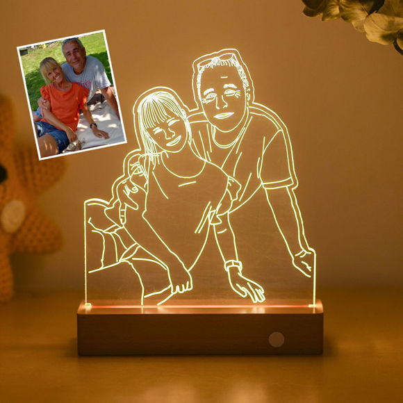 Picture of Custom Wooden Base 3D Night Lamp With Personalized Photo