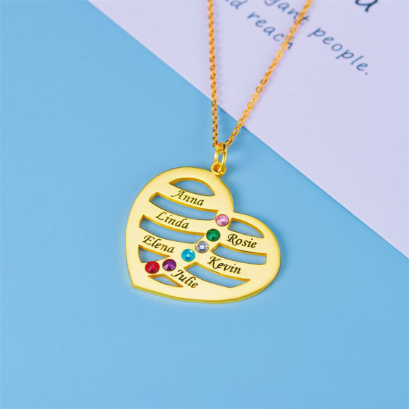 Picture of 925 Sterling Silver Personalized Heart Family Name Necklace with Birthstone Custom Made with Any Names