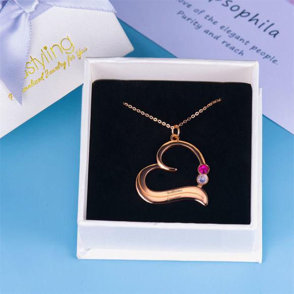 Bild von  Personalisierte Geburtsstein-Herz-Halskette in 925 Sterling Silber