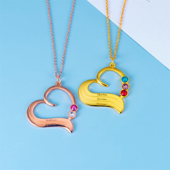 Picture of Personalized Birthstone Heart Necklace in 925 Sterling Silver
