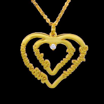 Image de Collier Pendentif Coeur Personnalisé avec Quatre Noms et Une Pierre de Naissance en Argent Sterling 925