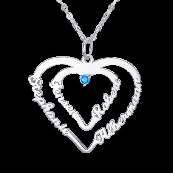 Imagen de Collar con colgante de corazón personalizado con cuatro nombres y una piedra de nacimiento en plata de ley 925