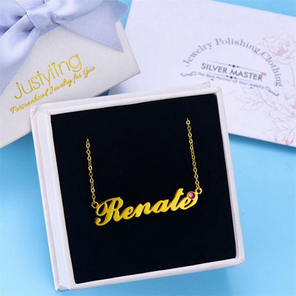 Immagine di Collana con nome personalizzato con Birthstone personalizzato, regalo di compleanno - oro rosa
