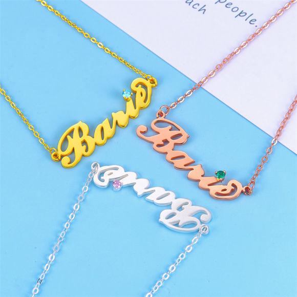 Picture of 925 Sterling Silver Carrie Nameplate Necklace with Birthstone