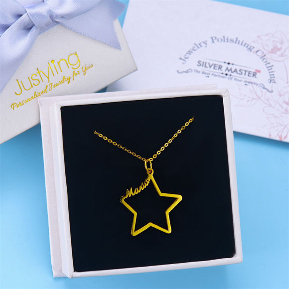 Picture of Custom Name on Star Necklace in 925 Sterling Silver