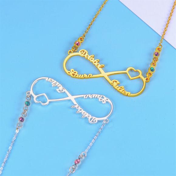 Imagen de Collar Infinito de 3 nombres personalizado con piedras natales
