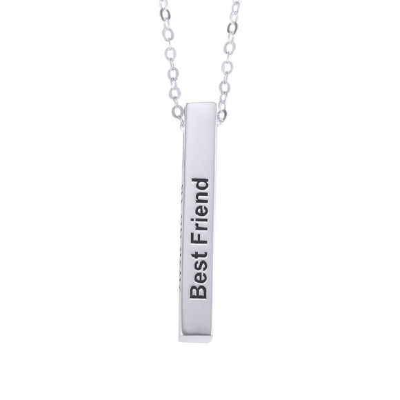 Picture of 3d Engraving Vertical Bar Necklace Silver