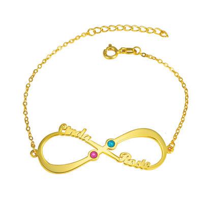 Image de Bracelet avec pierre de naissance nommée Infinity personnalisée en argent sterling 925