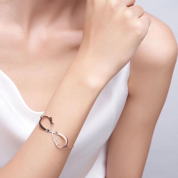 Immagine di Braccialetto con nome Birthstone Infinity personalizzato in argento sterling 925