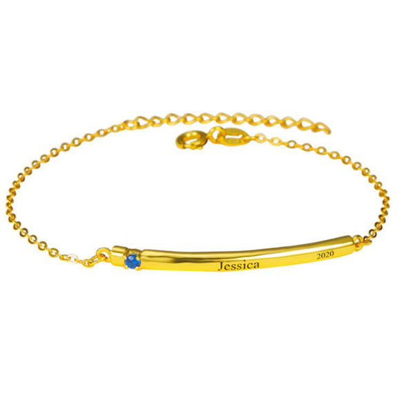 Picture of Birthstone Bar Graduation Bracelet with 1-5 stones